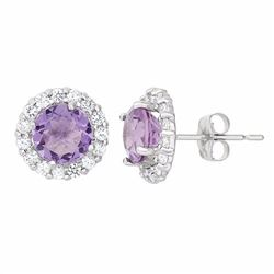 Amethyst & White Topaz 10k White Gold Halo Stud Earrings