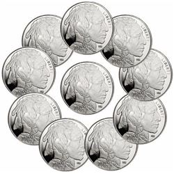 Lot of (10) Buffalo Round Private Mint Silver