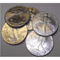 Lot of (5) US Silver Eagles