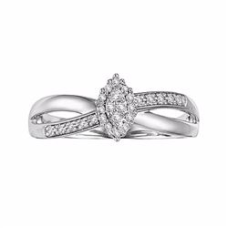 Round-Cut Certified Diamond Crisscross Engagement Ring in 10k White Gold (1/6 ct. T.W
