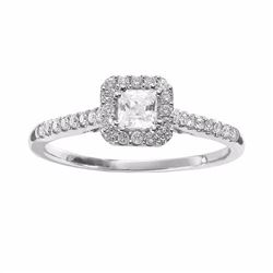 Diamond Halo Engagement Ring in 14k White Gold (1/2 ct. T.W.)