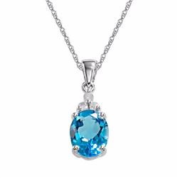 10k White Gold Blue Topaz & Diamond Accent Pendant