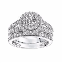 14k White Gold 1 1/2 Carat T.W. Certified Diamond Double Halo Engagement Ring