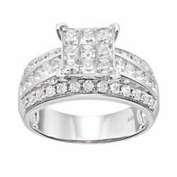 Diamond Square Engagement Ring in 10k White Gold (1 1/2 Carat T.W.)