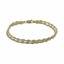 10k Gold Double Rope Chain Bracelet - 7.5-in
