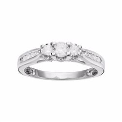 Round-Cut Diamond 3-Stone Engagement Ring in 10k White Gold (1/2 ct. T.W.