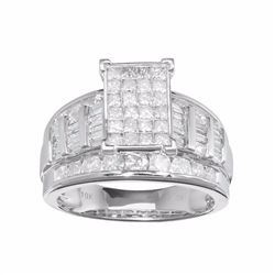 10k White Gold 2 Carat T.W. Diamond Cluster Engagement Ring