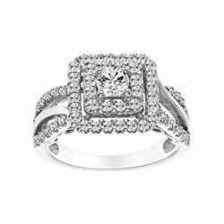 14k White Gold 1 Carat T.W. Certified Diamond Square Halo Engagement Ring