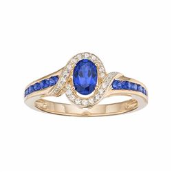 10k Gold Sapphire & Diamond Accent Oval Halo Ring