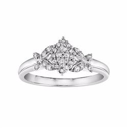 Diamond Marquise Butterfly Engagement Ring in 14k White Gold (1/5 Carat T.W.)