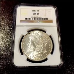 1887 MS 63 Silver Morgan Dollar NGC