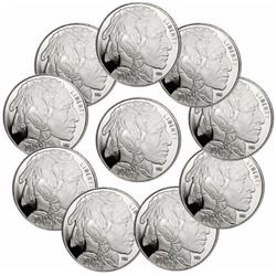 (10) 1 oz Silver Rounds Buffalo Design