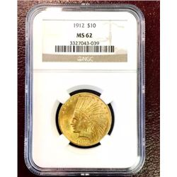 1912 MS 62 $ 10 Gold indian NGC