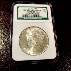 1922 MS 62 Peace Dollar BINIONS Collection