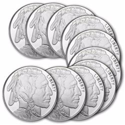 (10) Buffalo Design Silver Rounds - 1 oz Each