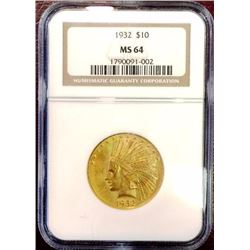 1932 MS 64 $ 10 Gold Indian NICE HIGHER GRADE NGC
