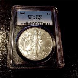 2002 MS 69 US Silver Eagle Harder Back Date PCGS