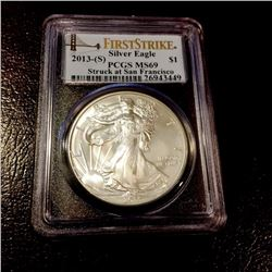 2013 S First Strikes MS 69 US Silver Eagle