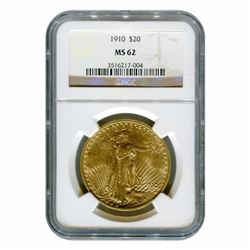 1910 MS 62 $20 Gold Siant Gauden's NGC