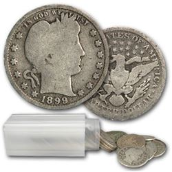 Roll of Barber Quarters ag-xf grades- 1892-1916