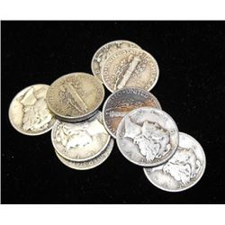 Lot of 10 Circulated Mercury Dimes-