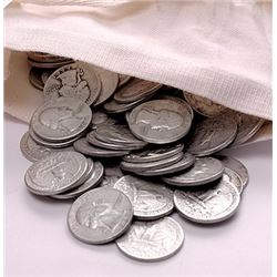(100) Washington Quarters -90% Silver- In Canvas