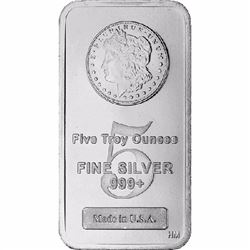 5 oz Morgan Design Silver bar . 999 Pure