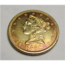 1880 P $5 FIVE Gold Liberty Half Eagle