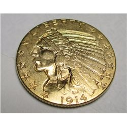 1914 S Better Date $5 FIVE Gold Indian Half Eagle
