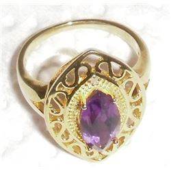 .925 silver stamped with 14 Kt gold plating marquise amethyst quartz & 2 diamonds ring - bague neuve