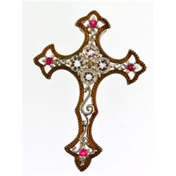religious cross vintage sterling silver pendant