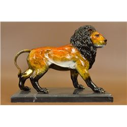 "17 Lbs Great Detail Male Lion Bronze Sculpture Statue on marble base (11""X14"")"