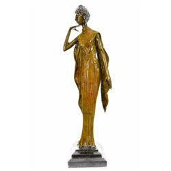 "12 LBS Art Deco Theater Jazz Dancer Bronze Sculpture on Marble base Statue (20""X10"")"