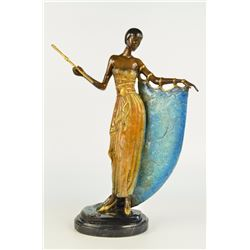 "14 LBS Art Deco Dancer Broadway Showgirl Actress Flapper Bronze Statue on Marble base (19""X13)"