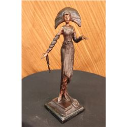 "10 LBS Girl Byzantine Sculpture In Bronze on Marble Base (19""X8"")"