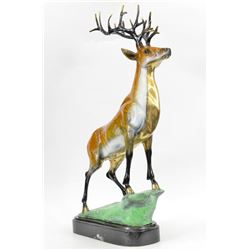 "18 LBS Collector Edition Special Patina Stag Wildlife Deer Bronze Statue (24""X16"")"
