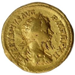 Very Rare Gold Aureus Coin of Septimius Severus of Roman Empire.