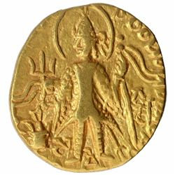 Gold Dinar Coin of Vasudeva II of Kushan Dynasty.