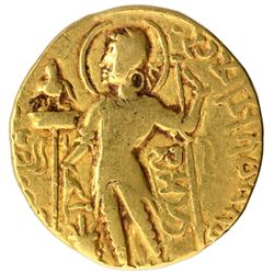 Gold Dinar Coin of Samudragupta  of Gupta Dynasty of Sceptre type.