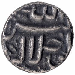 Silver One Quarter Rupee Coin of Akbar of Ahmadabad Mint.