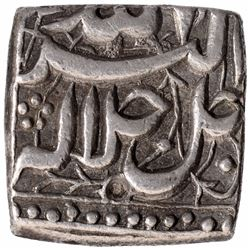 Silver Square One Rupee Coin of Akbar of Di Month.