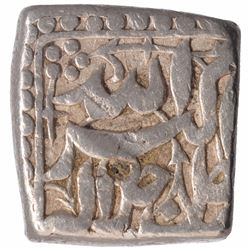 Silver Square One Rupee Coin of Akbar of Isfandarmuz Month.