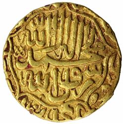 Gold Mohur Coin of Akbar of Agra Mint.