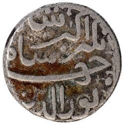 Silver One Rupee Coin of Jahangir of Ahmadabad Mint of Aban Month.