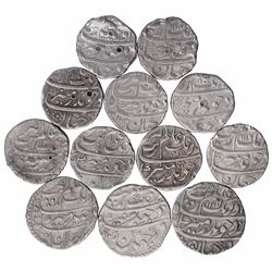 Silver One Rupee Coins of Aurangzeb of Different Mints.