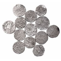 Silver One Rupee Coins of Farrukhsiyar of Different Mints.