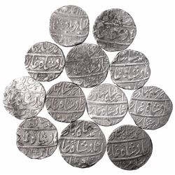 Silver One Rupee Coins of Ahmad Shah Bahadur of Different Mints.