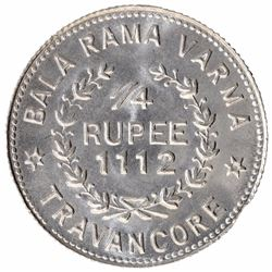 Silver Quarter Rupee Coin of Bala Rama Varma II of Travancore.