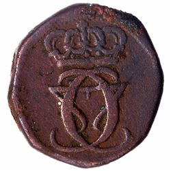 Copper Ten Cash Coin of Christian VII of India Danish.