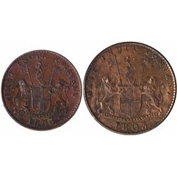 Copper V Cash and X Cash Coins of Soho Mint of Madras Presidency.